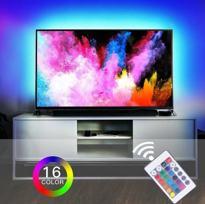 KIT Banda LED TV pentru iluminare ambientala AMBILIGHT spate TV alimentare USB foto