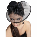 Palarie Mini Top Hat Model 24 Negru S-L, Livco Fashion