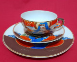 Set mic dejun portelan japonez Satsuma Moriage cu holograma