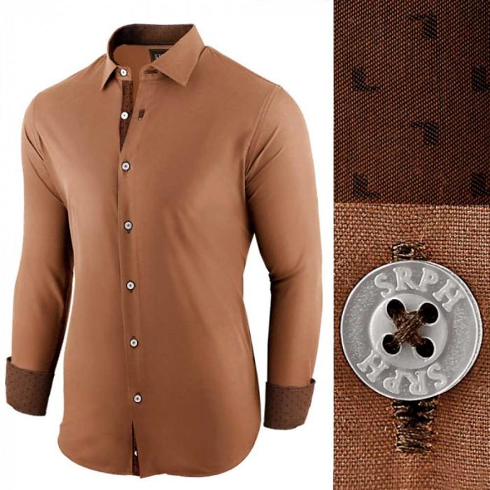 Camasa pentru barbati, maro-deschis, regular fit, bumbac, casual - Business Class Ultra
