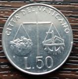 (M2140) MONEDA VATICAN - 50 LIRE 1992, STARE FOARTE BUNA, Europa