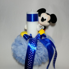 Lumanare pentru botez tip glob, BLEU 35X5 cm Disney - Mickey Mouse