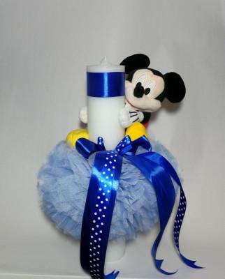 Lumanare Pentru Botez Tip Glob Bleu 35x5 Cm Disney Mickey Mouse