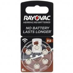 Baterii pentru proteze auditive RAYOVAC 312 Acoustic PR 41 Zinc-Aer 6 baterii / set
