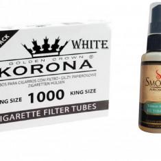 Tuburi tigari korona 1000 tuburi si aroma tutun kent 30ml pentru vrac si firicel