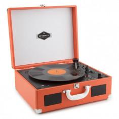 Auna Peggy Sue OR portabil retro gramofon cu vinil, LP CD USB, SD portocalie din imitație de piele