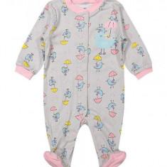 Salopeta / Pijama bebe cu pasari Z16, 1-2 ani, 12-18 luni, 6-9 luni, 9-12 luni, Gri