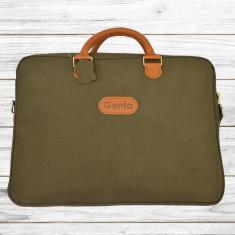 Geanta piele pentru laptop si documente, Unisex , Verde Inchis