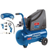 Cumpara ieftin Set compresor cu accesorii HC25o Scheppach SCH5906112904, 1100 W, 24 l, 8 bari, 15 piese