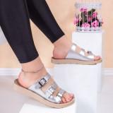 Papuci cu catarame dama argintii Bislia