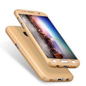 Husa Samsung Galaxy S7 Flippy Full Cover 360 Auriu + Folie de protectie
