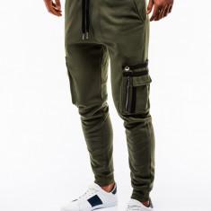 Pantaloni barbati de trening verde slim fit sport street model nou P732