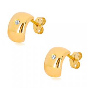 Cercei din aur galben 14K - diamant strălucitor, transparent pe un arc larg