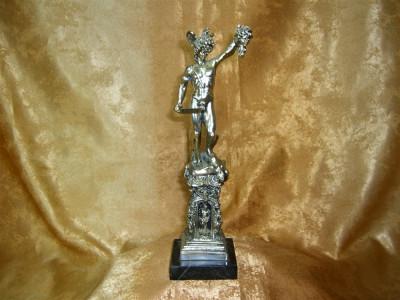 Statueta laminaj argint soclu marmura, colectie, cadou, vintage foto