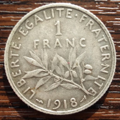 (A28) MONEDA DIN ARGINT FRANTA - 1 FRANC 1918, SEMANATOAREA