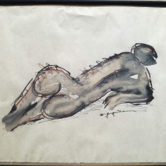 Tablou Nud, tehnică mixtă pe hârtie, semnat, 38 x 50, Marcel Guguianu