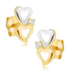 Cercei din aur de 14K - contururi de inimă bicoloră, diamant transparent
