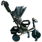 Tricicleta Multifunctionala Cu Sunete Si Lumini Lux Trike Dark Grey, Baby Mix