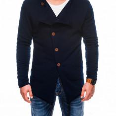 Hanorac pentru barbati bleumarin stil palton inchidere laterala nasturi casual slim fit B310