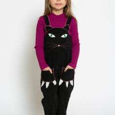 Salopetă -Pantaloni pisică MIAU unisex fete/baieți by KIDissue, 1-2 ani, 2-3 ani, 3-4 ani, 4-5 ani, 5-6 ani, 6-7 ani, 7-8 ani, 8-9 ani, 9-10 ani, Negru
