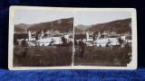 MANASTIREA PUTNA , BUCOVINA , VEDERE PANORAMICA , FOTOGRAFIE STREOSCOPICA , MONOCROMA , PE SUPORT DE CARTON , CCA. 1900