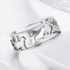 Inel din argint cu Pisici Plimbarete