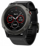 Ceas activity outdoor tracker Garmin Fenix 5x Sapphire Edition, GPS, HR, Waterproof 10 ATM (Negru)