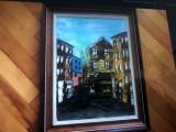 Tablou german,pictura in ulei pe panza,peisaj citadin, Peisaje, Altul