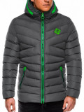 Cumpara ieftin Geaca pentru barbati, gri, ideal ski, de iarna cu gluga si fermoar, model slim - c363