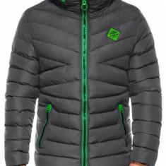 Geaca pentru barbati gri ideal ski de iarna cu gluga si fermoar model slim c363