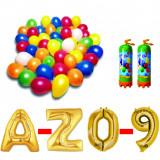 Cumpara ieftin Pachet 10 baloane numere / cifre la alegere, 2 butelii heliu, 100 baloane 26cm metalizate