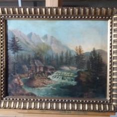 Tablou ulei pe panza din 1846  - Cabana la munte, Peisaje, Realism