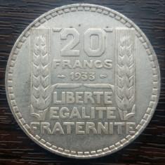 (A168) MONEDA DIN ARGINT FRANTA - 20 FRANCS 1933, 20 GRAME, PURITATE 680/1000