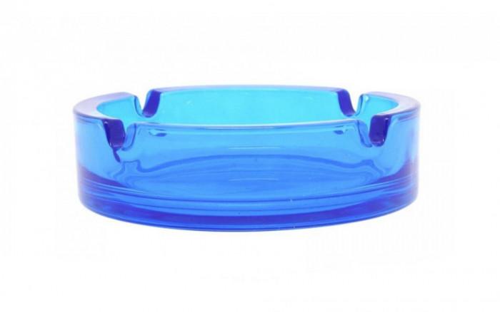 Scrumiera sticla rotunda Uniglass Selena albastra