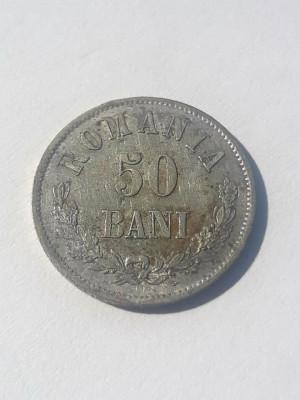 ROMANIA - 50 Bani 1873 . Luciu de batere . UNC . Argint . Necirculata . Rara ! foto