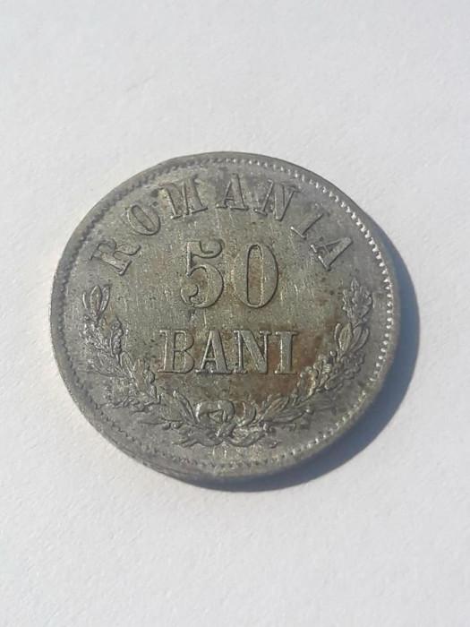 ROMANIA - 50 Bani 1873 . Luciu de batere . UNC . Argint . Necirculata . Rara !