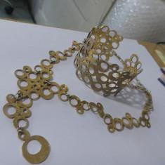 Set Bratara si colier argint aurite -6054