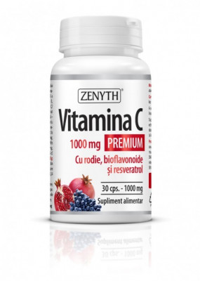 Vitamina C Premium cu rodie 1000mg (30 capsule) foto