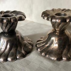 Set de doua sfesnice din alama argintata fabricate in perioada interbelica