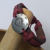 Bratara Piele Unisex Retro Design - Marime Reglabila - Zodia Leu