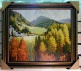 Tablou pictat manual pe panza in ulei Peisaj Natura Toamna A-175, Realism