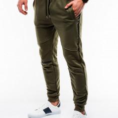 Pantaloni barbati de trening verde slim fit sport street model nou P743