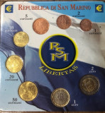 SET 8 monede euro San Marino seria 1, ani mixati (1cent-2euro ) - UNC, Europa, Cupru-Nichel