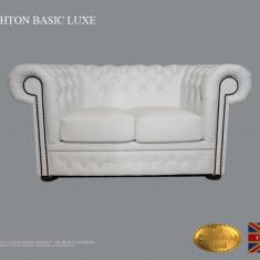 Canapea Chesterfield Basic Lux -White -2 locuri-Piele naturală