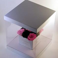 Aranjament 9 Trandafiri Criogenati Naturali 6.5cm în cutie cub