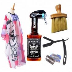 Set complet frizerie barber pulverizator sticla Whisky brici metalic barbershop