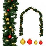 Ghirlandă de Crăciun decorată cu globuri și becuri LED, 5 m, vidaXL