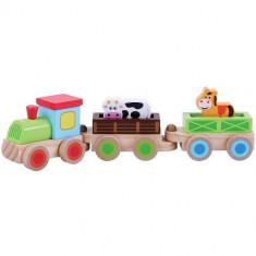 Trenulet din Lemn cu Animale