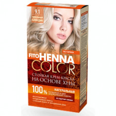 Vopsea de par permanenta fara amoniac FITO Henna Color 9.1 BLOND CENUSIU