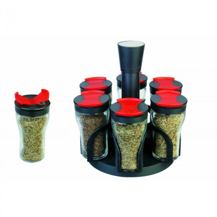 Set recipiente pentru condimente, 6 piese, suport rotativ